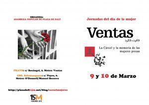 Díptico Exterior Color Jornadas del Día de la Mujer Trabajadora: La Cárcel de Ventas y la Memoria de las mujeres presas. Jornadas 9-10 marzo: C/ Bocangel 2, Exposición 9-24 de Marzo: CS Salamanquesa